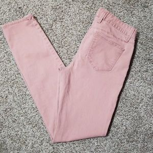 Rose colored skinny jeans
